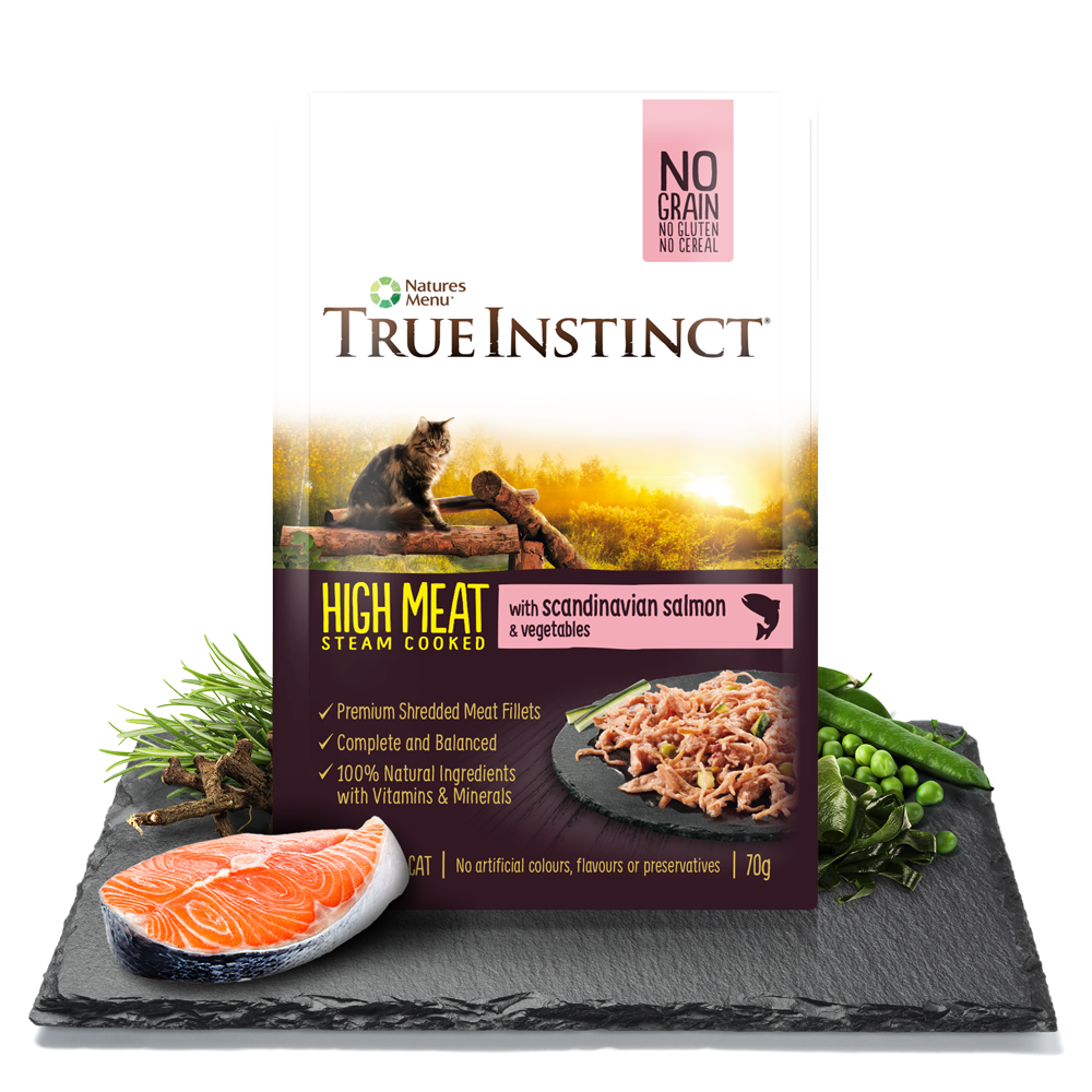 True Instinct High Meat Chicken Fillet with Scandinavian Salmon for Adult Cats 70g Pouch