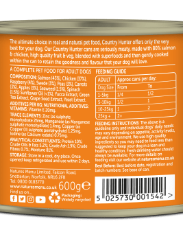 Country Hunter Dog Food Salmon with Chicken 600g Can Back