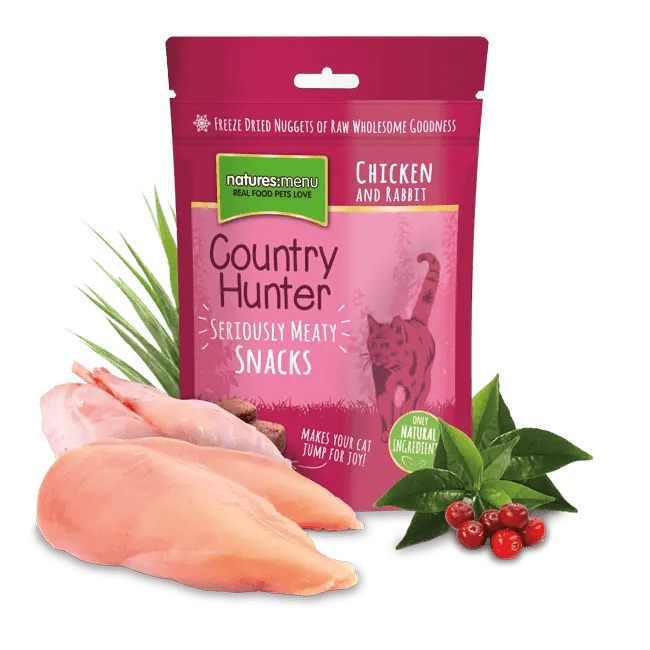 Country Hunter Freeze Dried Cat Snacks Chicken and Rabbit 50g Bag