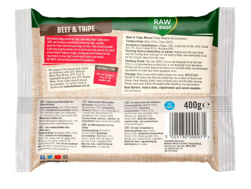 Natures Menu Beef & Tripe Block 400g Back of Pack