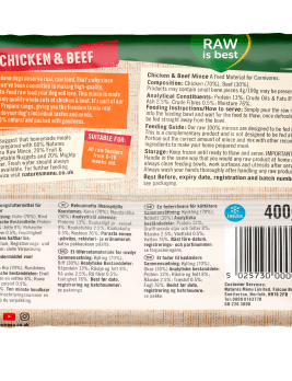 Natures Menu Chicken & Beef Block 400g Back of Pack