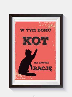 Plakat czarny kot na czerwonym tle
