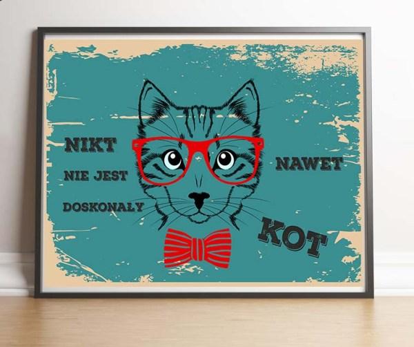 Plakat turkusowy hipsterski o kocie