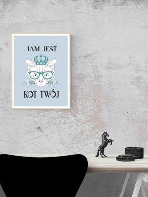 Plakat hipsterski Jam jest kot twój kot w okularach