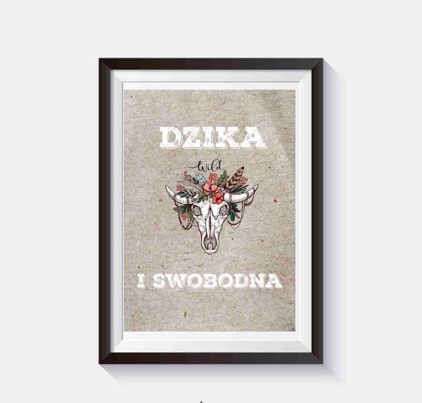 plakat na ścianę w stylu boho z czaszką i kwiatami