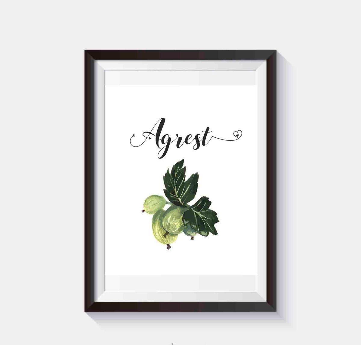 Darmowy plakat do kuchni do wydruku Owoce agrest