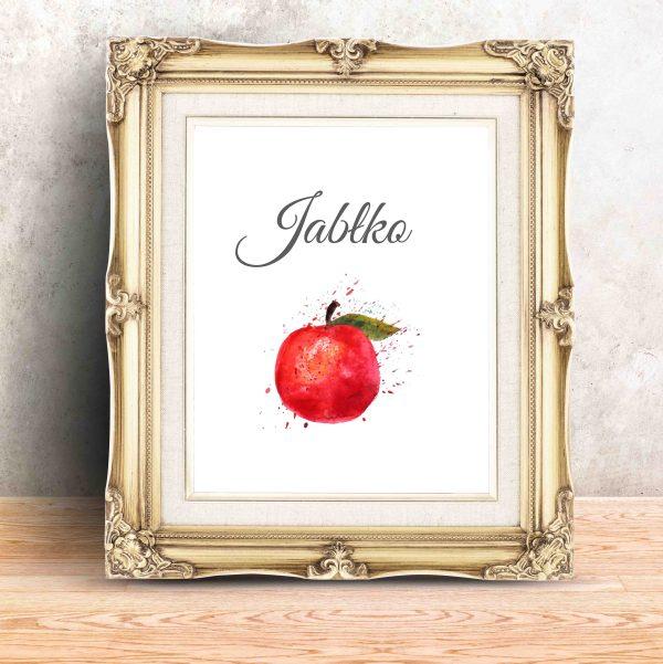 plakat na ścianę do jadalni z jabłkiem i napisem