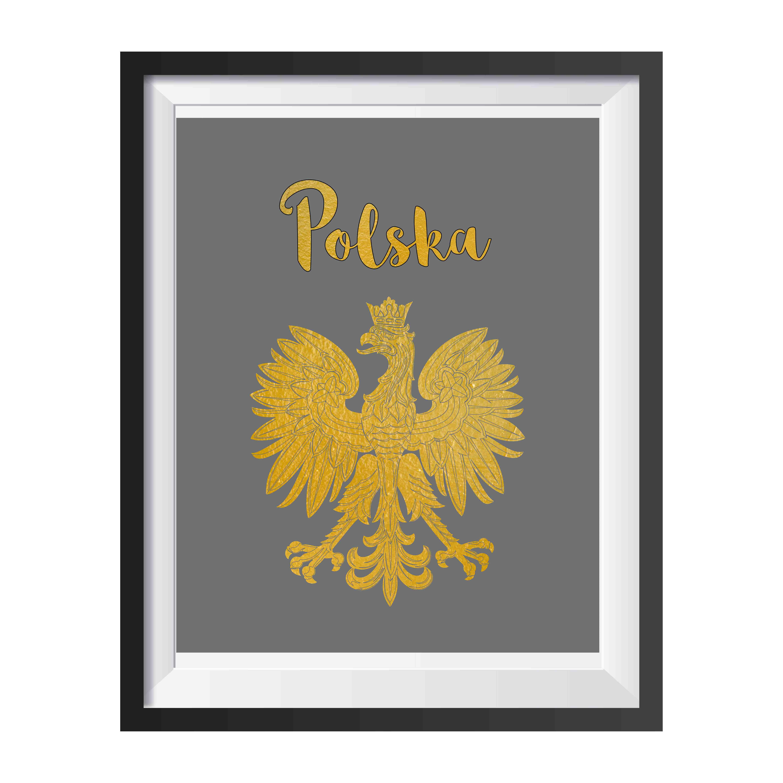 Plakat Patriotyczny Z Polskim Orłem Na Szarym Tle