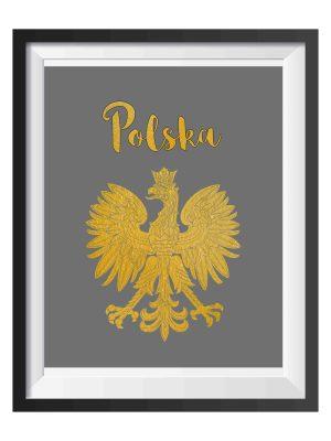 Plakat patriotyczny z polskim orłem