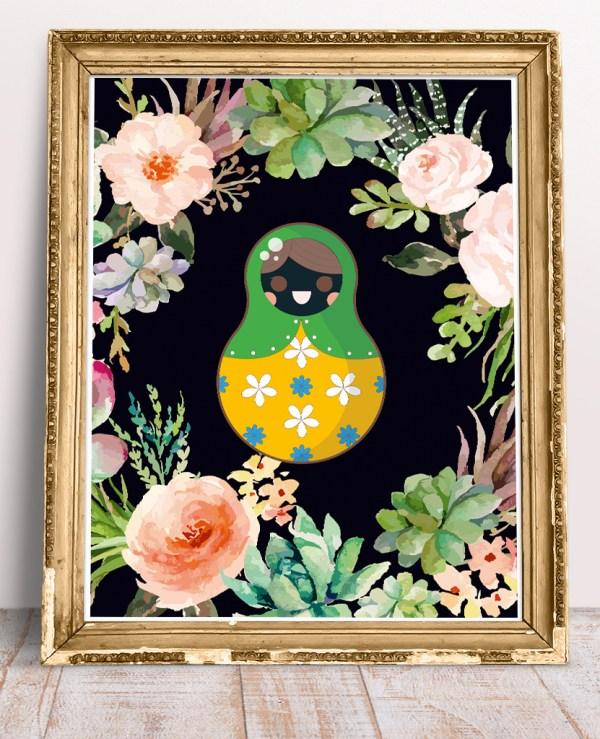 Grafika na ścianę z motywem folkowym i kwiatowym