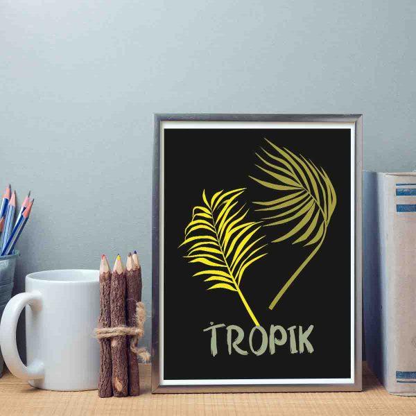 Tropikalny plakat czarno żółty z motywem liścia palmy