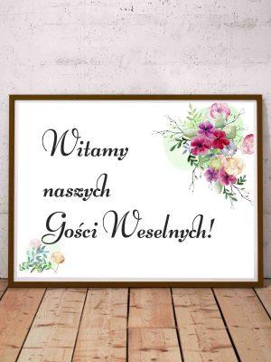 Witamy gości weselnych - napis, plakat