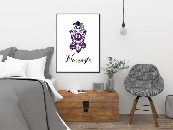 Plakat joga - grafika ręka Fatimy i napis Namaste
