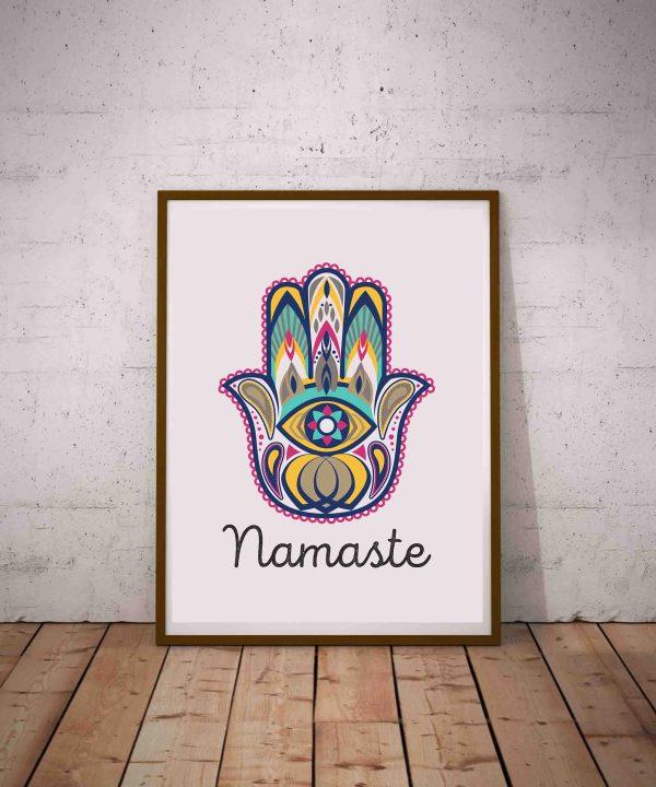 Plakat joga i medytacja - grafika ręka Fatimy i napis Namaste