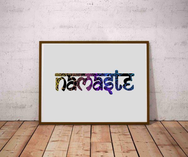 Prosty, typograficzny plakat joga - stylizowany napis Namaste