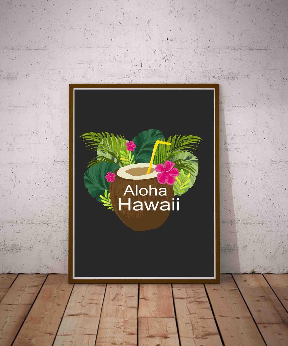 Plakat z kokosem i roślinami tropikalnymi na czarnym tle