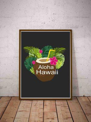 Plakat z kokosem i roślinami tropikalnymi