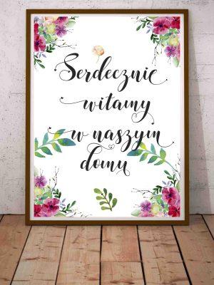 Modny plakat do przedpokoju Witamy w naszym domu