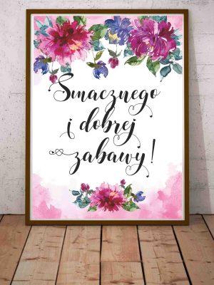Plakat z modnym napisem Smacznego i dobrej zabawy
