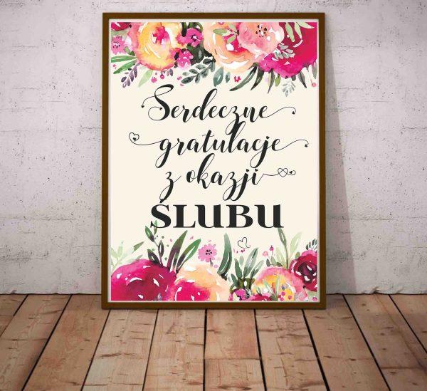 Plakat z gratulacjami Serdeczne gratulacje z okazji ślubu