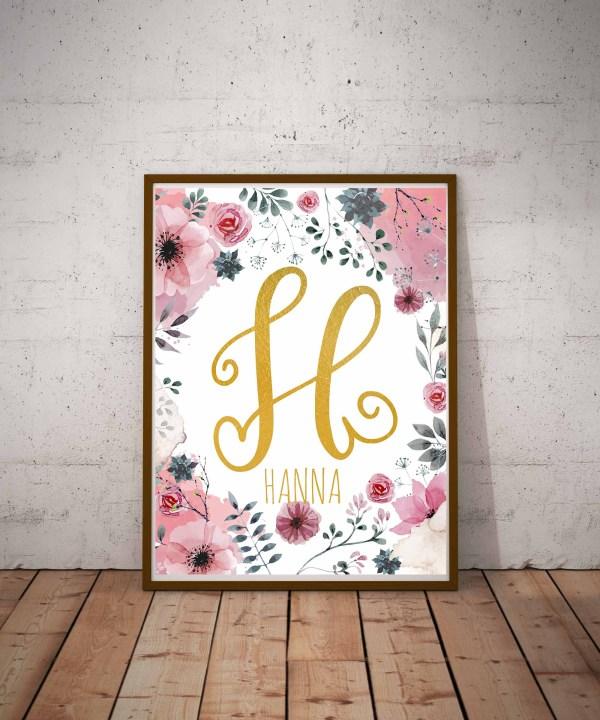 Monogram plakat na ścianę z literą H jak Hanna