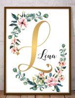 Imiona dzieci na ścianę LENA spersonalizowany plakat z imieniem litera L