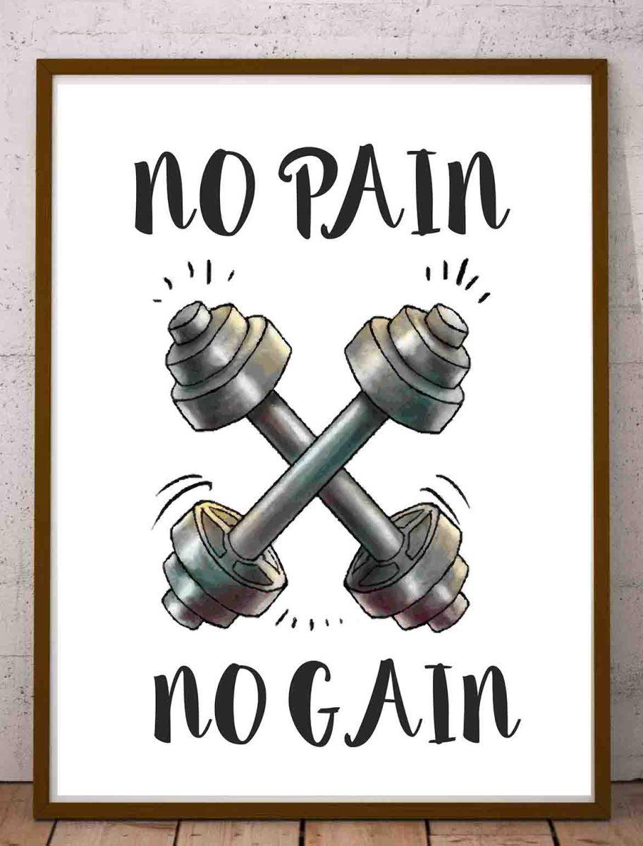 Plakaty cytaty o siłowni po angielsku No Pain No Gain