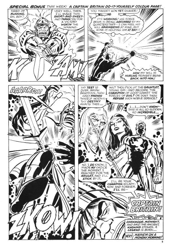 Planche de Captain Britain en noir et blanc