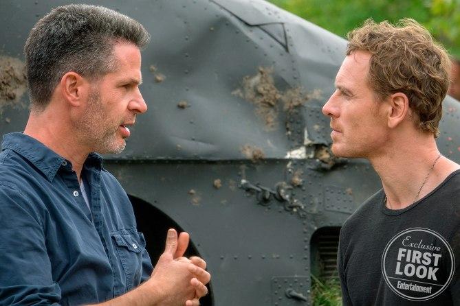 Simon Kinberg et Michael Fassbender sur le plateau d'X-Men: Dark Phoenix