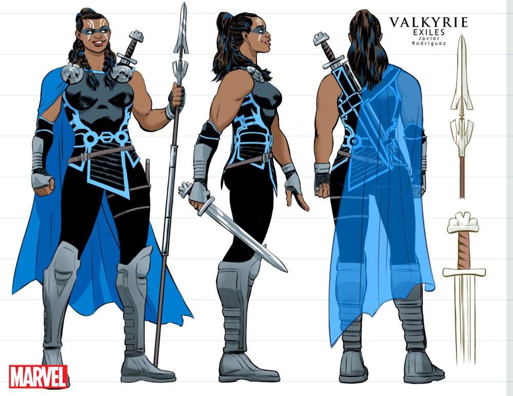 Designs de Valkyrie par Javier Rodriguez (Marvel Comics)
