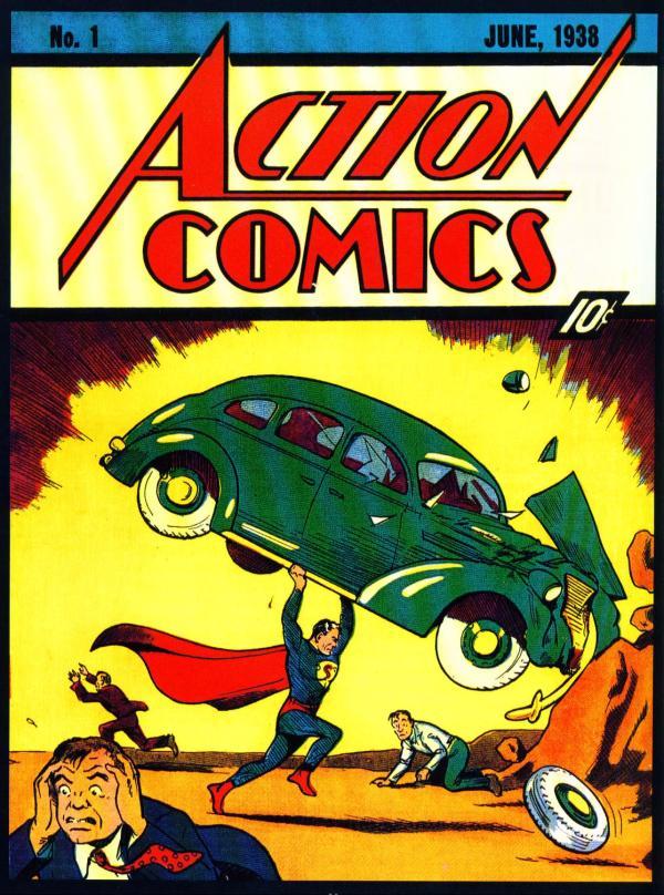 La mythique couverture d'Action Comics #1. Le monde découvre Superman.