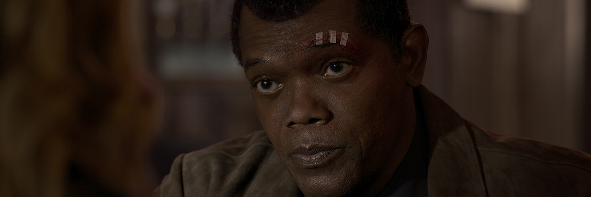 Nick Fury (Samuel L. Jackson) dans Captain Marvel""
