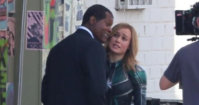 EXCLUSIVE: First Photos of Nick Fury on 'Captain Marvel' Set!! Samuel L. Jackson Joins Brie Larson During Filming in LA