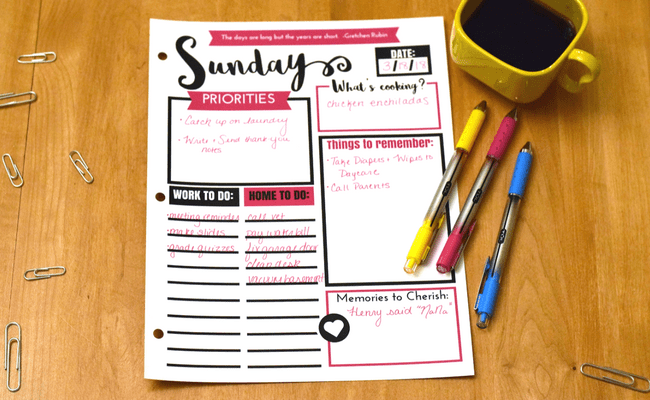 busy mom planner printable with 3 ink pins and a cup of coffee on a table
