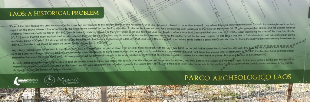 Placard at Parco Archaeologico di Laos