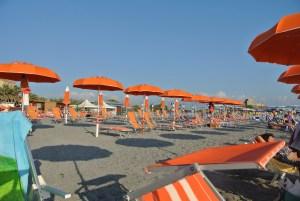 Umbrellas on the beach in Scalea