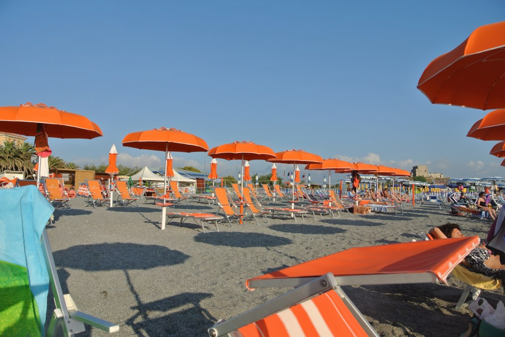 Umbrellas on the beach in Scalea