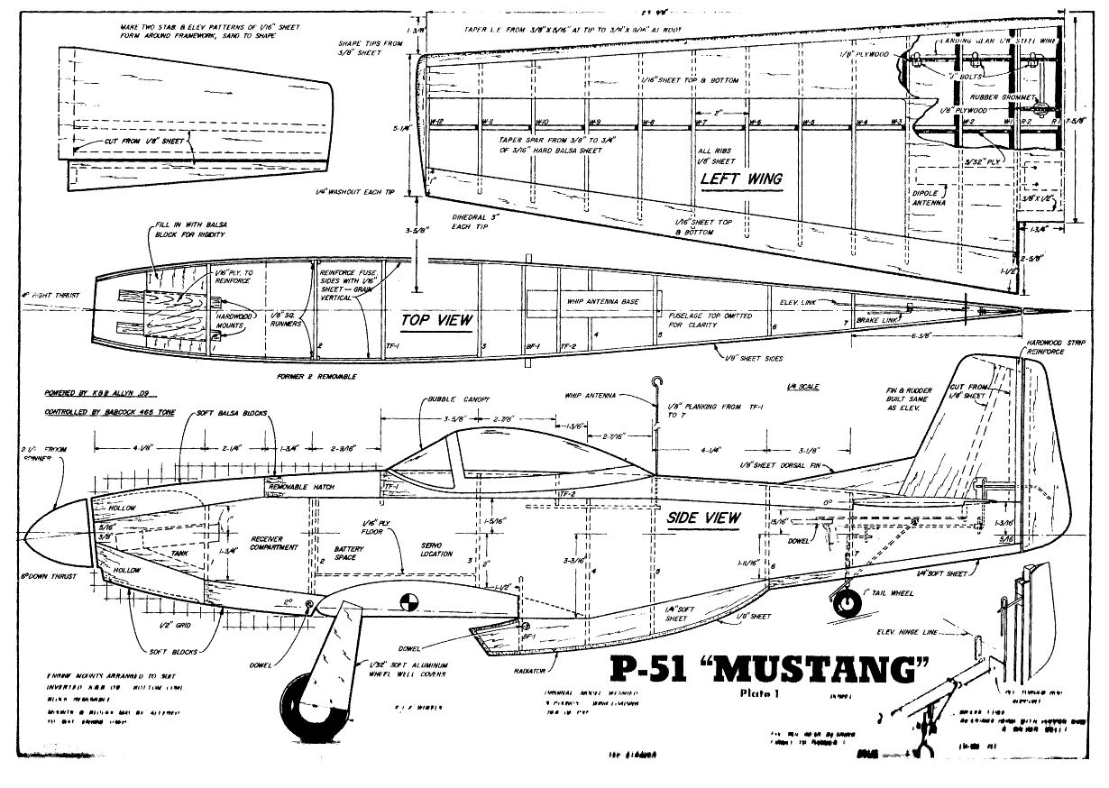 175 Small Medium Scale Rc Model Airplane Plans Templates