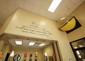 Scripture on front office wall