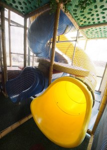 Inside playground tunnel slide