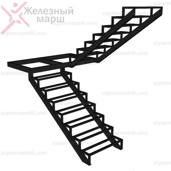 Металлический каркас лестницы с прямым маршем и площадкой
