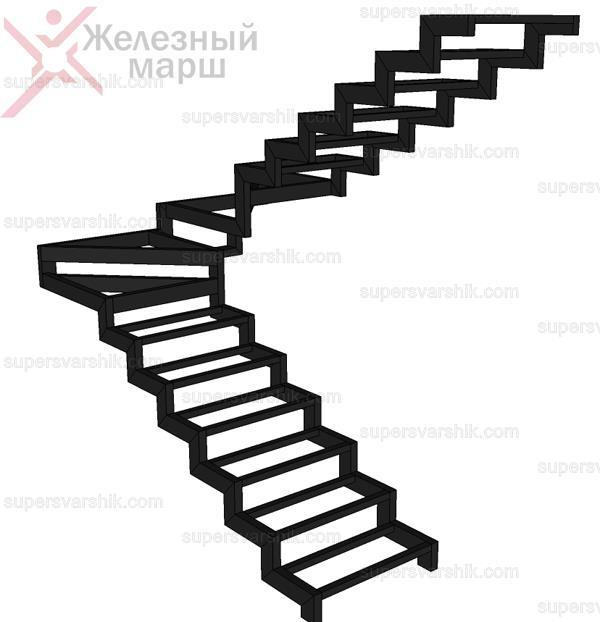 лестница в частном доме металлический каркас