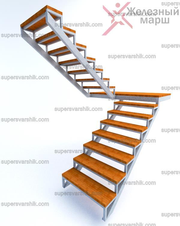 металлический капкас лестницы на второй этаж