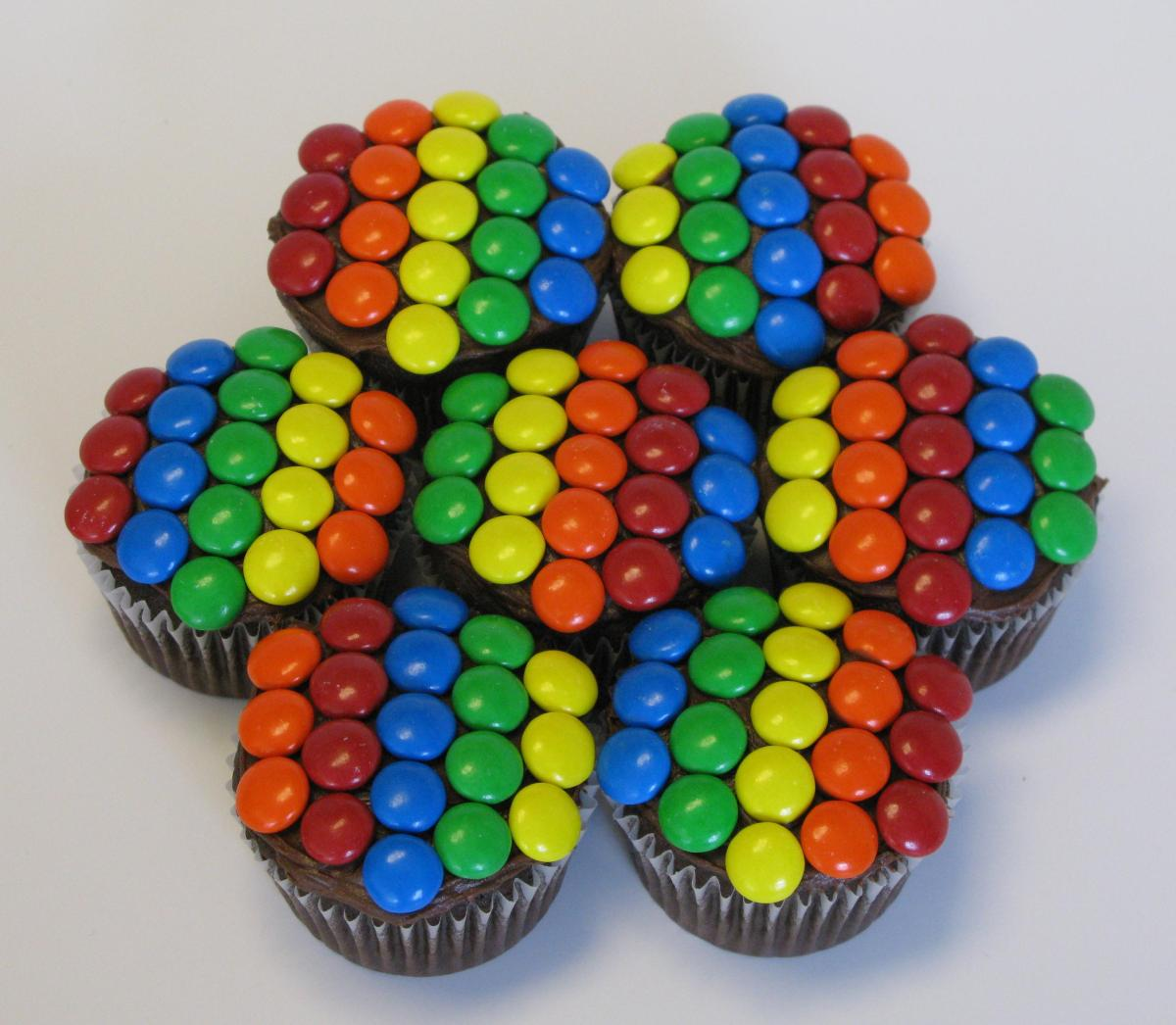 Chocolate Rainbow M&M Cupcakes
