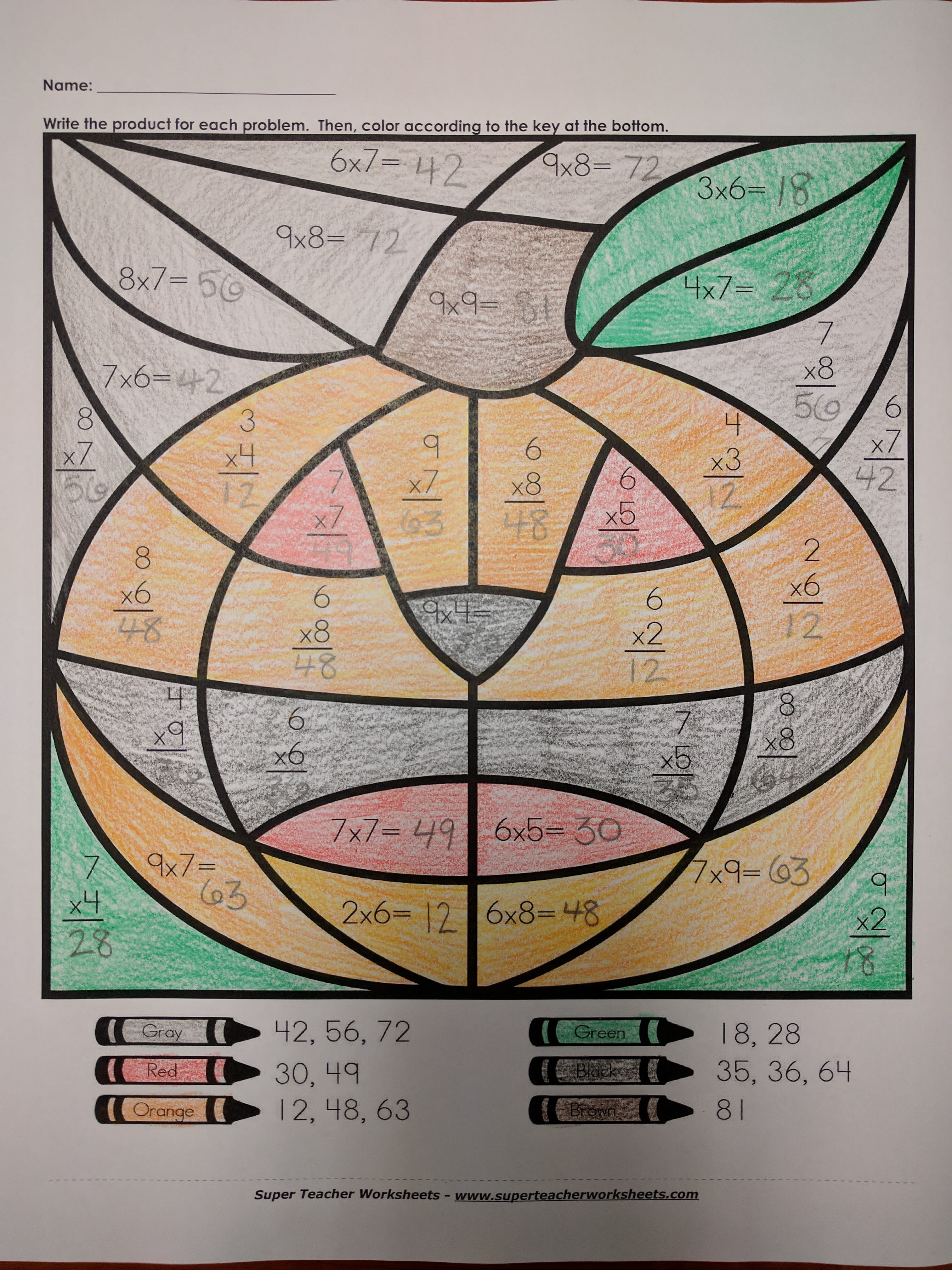 Pumpkin Coloring Math Activity