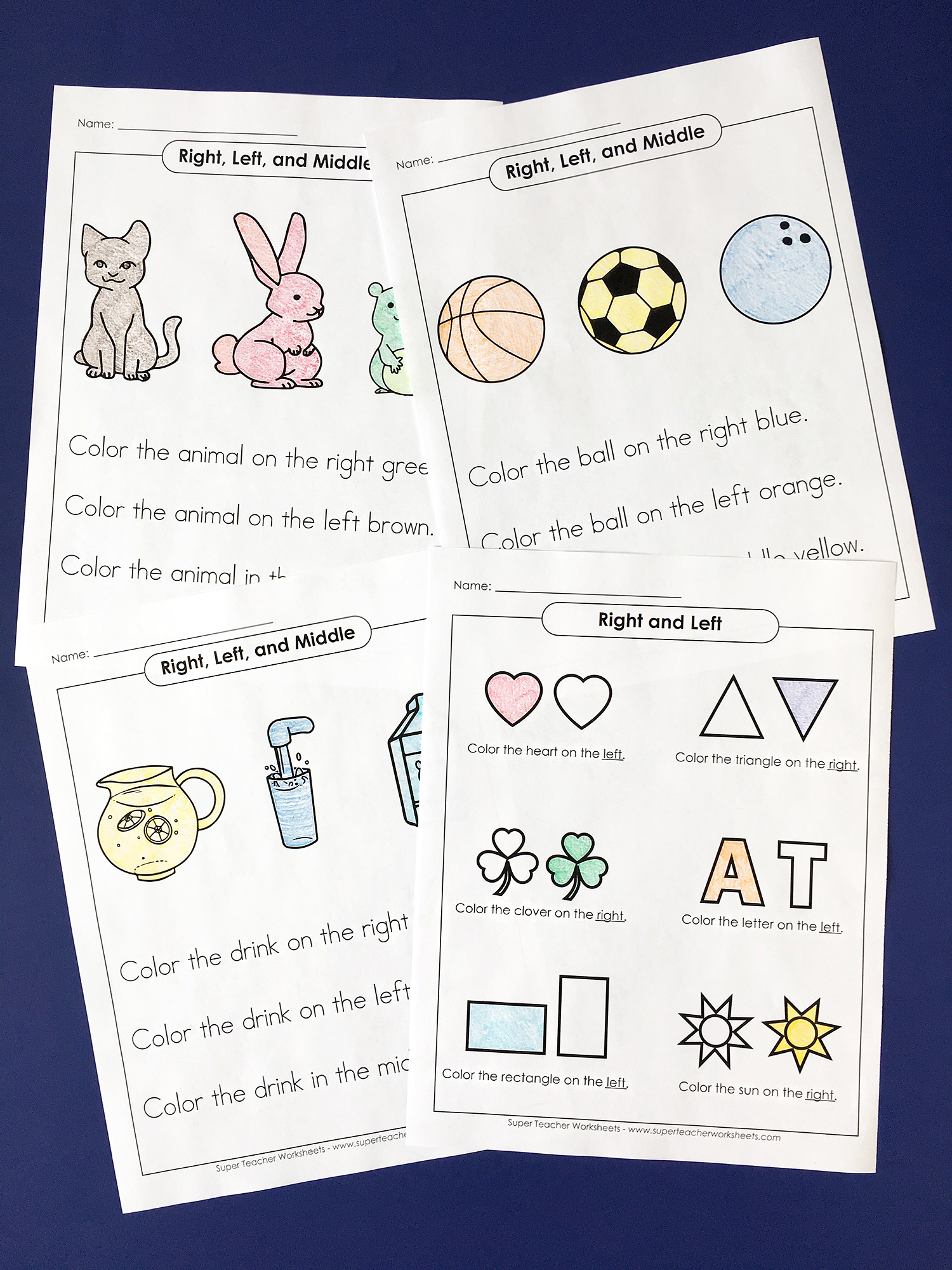 Right And Left Worksheets