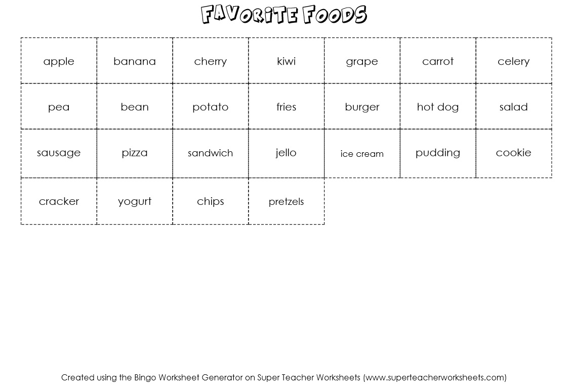 Bingo Game Worksheet Generator