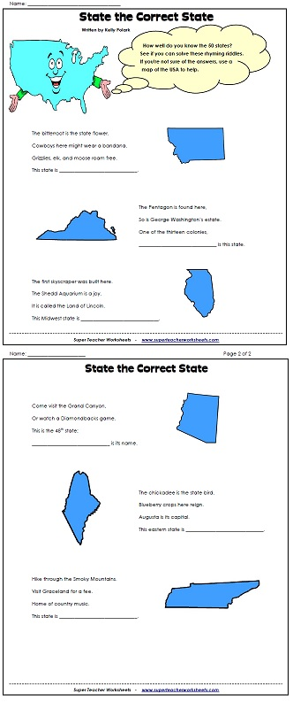 A Printable State Riddle Worksheets