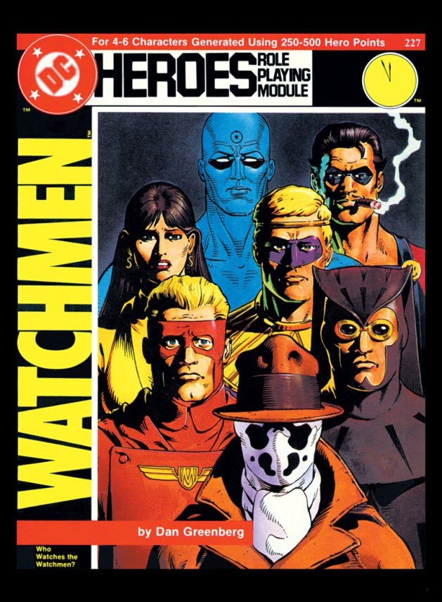 "Cover of Dan Greenberg's ""Who Watches The Watchmen"" DC Heroes RPG module"