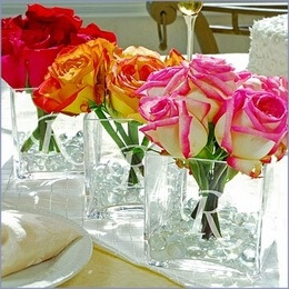 Easy Wedding Centerpieces in Square Monogram Vases